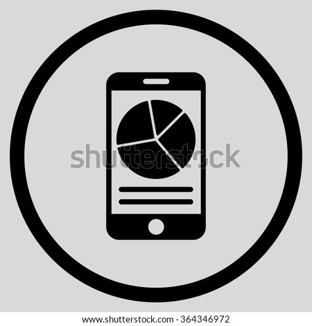 Mobile Report vector icon. Style is flat circled symbol, black color, rounded angles, light gray background. - stock vector