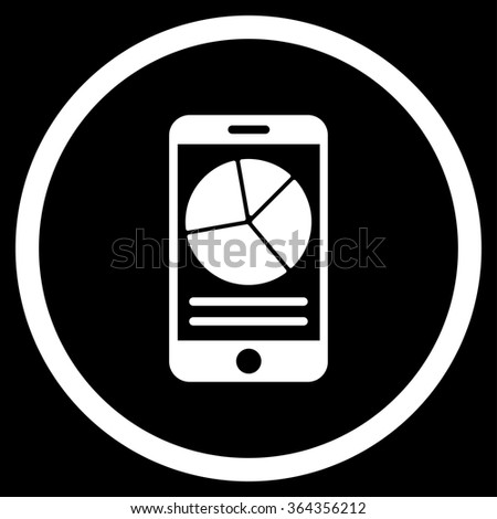 Mobile Report vector icon. Style is flat circled symbol, white color, rounded angles, black background. - stock vector