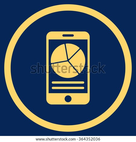 Mobile Report vector icon. Style is flat circled symbol, yellow color, rounded angles, blue background. - stock vector