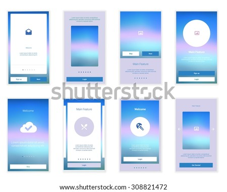 Mobile Screens User Interface Kit. Modern user interface UX, UI screen template for mobile smart phone or responsive web site. Welcome, onboarding, login, sign-up and home page layout. - stock vector
