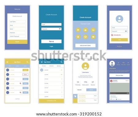 Mobile Screens User Interface Kit. Modern user interface UX, UI screen template for mobile smart phone or responsive web site. Welcome, on boarding, login, sign-up and home page layout. Vector. - stock vector