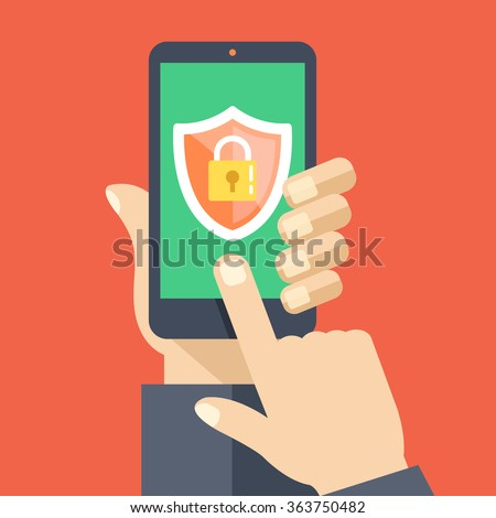 Mobile security app on smartphone screen. User touch screen. Flat design vector illustration - stock vector