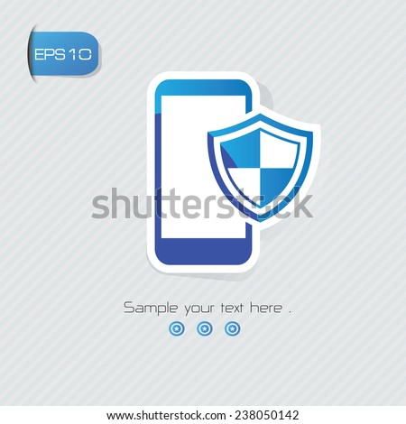 Mobile security symbol,sticker design,blue version,clean vector - stock vector