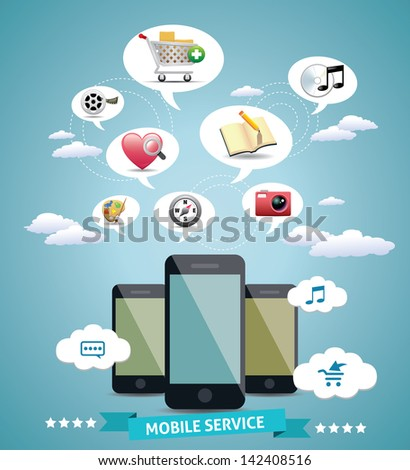 Mobile Service Design Idea - stock vector