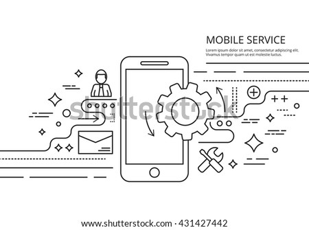 Mobile services. Mobile services banner. Mobile services background. Mobile services line image. Mobile services vector illustration. Mobile services web image. Mobile services thin line. - stock vector