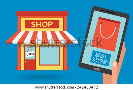 Mobile shopping apps on tablet or smartphone, vector illustration concept - stock vector