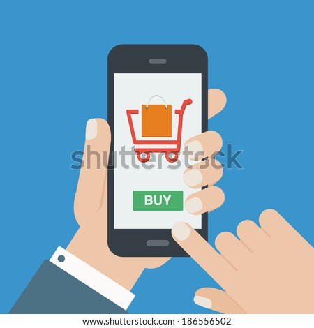 mobile shopping button, flat design - stock vector