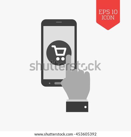 Mobile shopping concept icon. Flat design gray color symbol. Modern UI web navigation, sign. Illustration element - stock vector