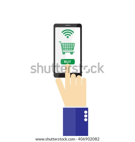 Mobile shopping concept isolated on white background vector