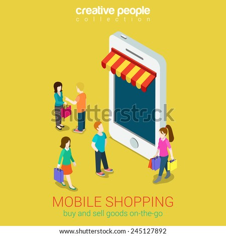 Mobile shopping e-commerce online store flat 3d web isometric infographic concept vector and electronic business, black friday sales. People walk on street between stores boutiques like phones tablets - stock vector