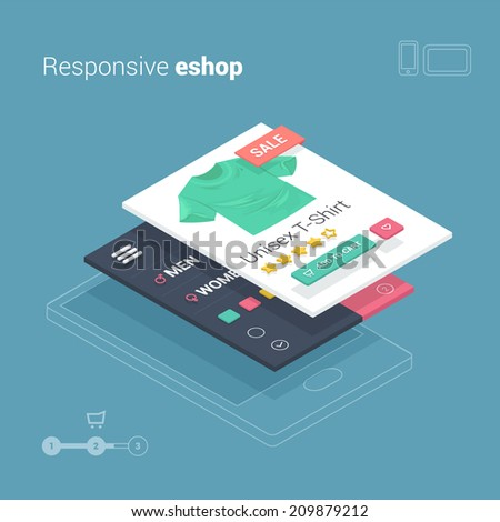 mobile shopping with smart phone on responsive ecommerce website - stock vector