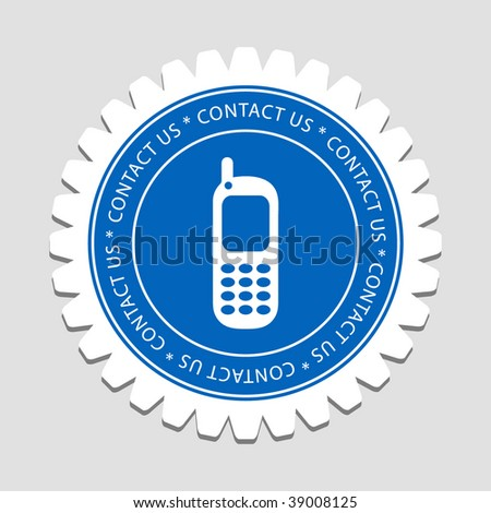 Mobile Sign Contact Us Label - stock vector
