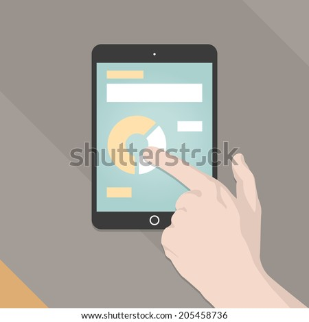 Mobile Smart Phone Tablet Infographics In Flat Color Design Style With Hand. Vector Illustration EPS10