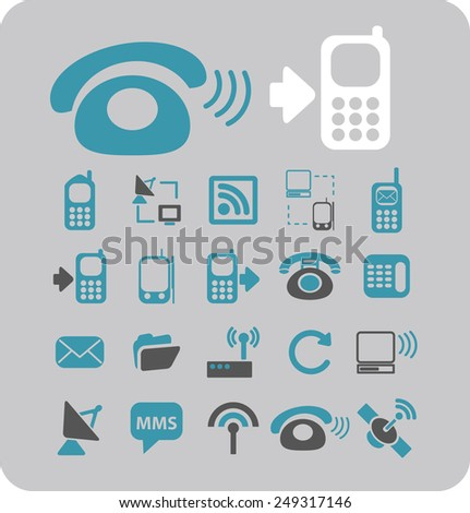 mobile, smartphone, communication, connection icons, signs, illustrations set, vector - stock vector