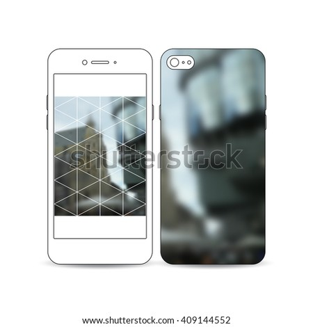 Mobile smartphone with an example of the screen and cover design isolated on white background. Abstract polygonal background, blurred image, urban landscape, modern stylish triangular vector texture.