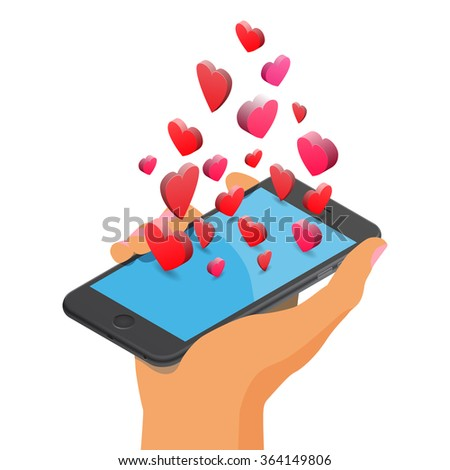 Mobile smartphone with heart icons. Like, valentines day, online dating, love, relationship, friendship. Isolated isometric illustration on white background.