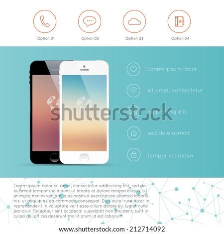 infographic mockup device smartphone presentation template stock, Presentation templates