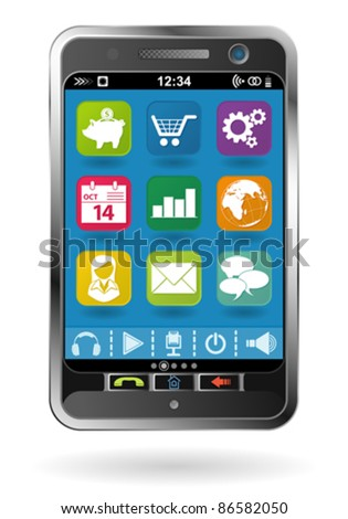 Mobile Smartphone with icons, element for design, vector illustration