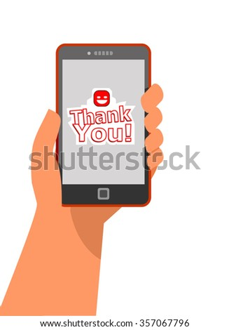mobile sticker message concept in flat style - human hand holding mobile phone with thank you message on the screen - stock vector