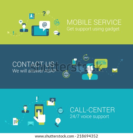 Mobile support service contact call center concept flat icons set of touch phone gadget online chat email call voice and vector web illustration website click infographics elements collection