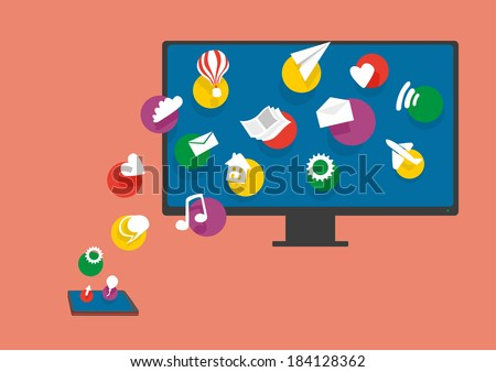 Mobile Synchronization. Mobile phone is sharing files with PC. - stock vector