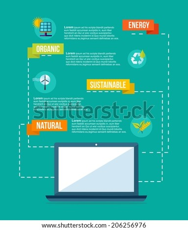 Mobile technology and ecology concept info graphic template background. EPS10 vector file organized in layers for easy editing. - stock vector