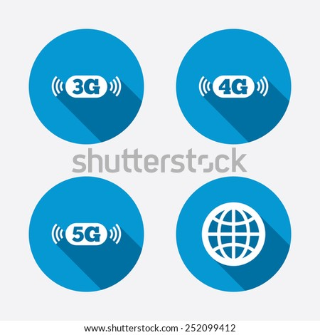 Mobile telecommunications icons. 3G, 4G and 5G technology symbols. World globe sign. Circle concept web buttons. Vector - stock vector