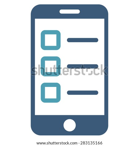 Mobile test icon from Business Bicolor Set. Vector style: bicolor flat symbol, cyan and blue colors, rounded angles, white background. - stock vector