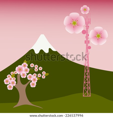 Mobile tower blooms with sacura flowers - stock vector