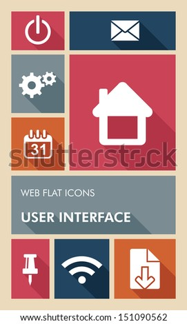 Mobile UI internet applications graphic user interface flat icons set. Vector layered for easy editing. - stock vector