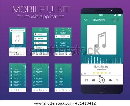 Mobile UI kit for music application. Vector. EPS10 - stock vector