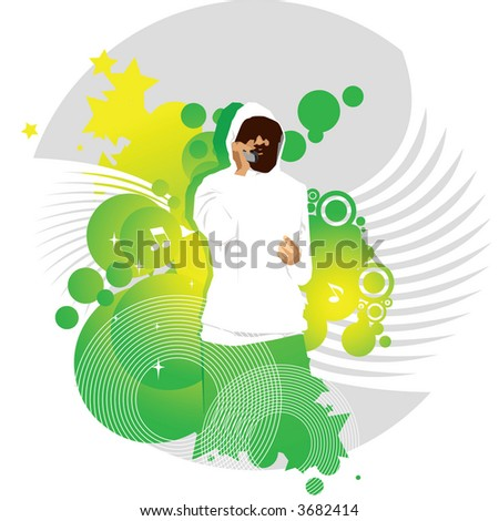 Mobile vector illustration series - young casual man on the cell phone - stock vector