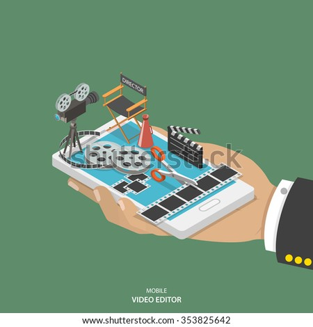 Mobile video editor flat isometric vector concept. Hand with smartphone and equipment for movie creating like film strip, camera, directors chair on it.  - stock vector