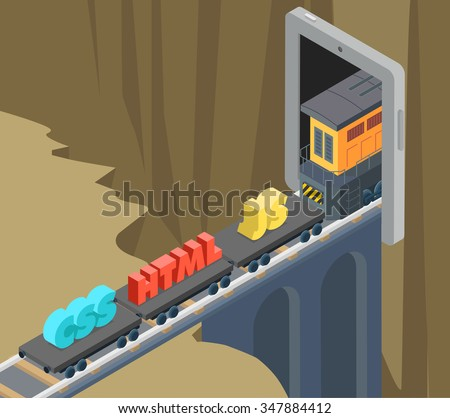Mobile web site application development CSS HTML JS flat 3d isometry isometric concept web infographics vector. Train with code language platform moving towards tunnel inside smartphone screen. - stock vector