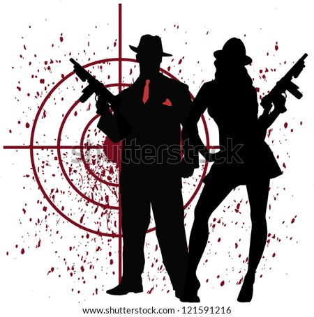 mobster couple - stock vector