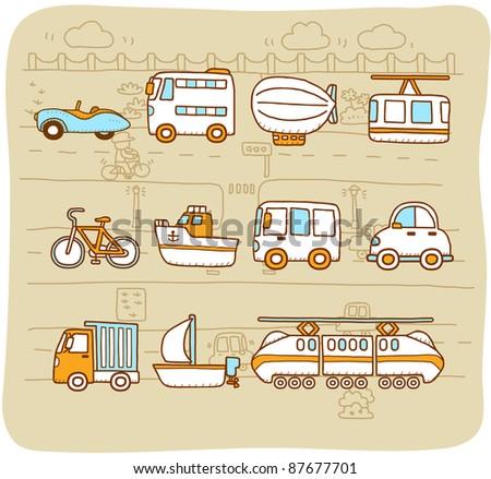 Mocha Series |  cars,transportation,  automobile,  icon set - stock vector