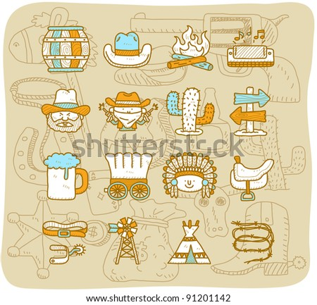Mocha Series | wild west cowboys icon set - stock vector