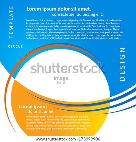 mock-up design template geometric abstract blue yellow background. brochure, block for image - stock vector