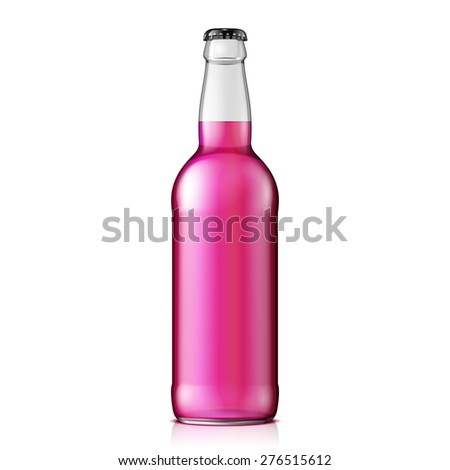 Mock Up Glass Raspberry Strawberry Cherry Lemonade Cola Clean Bottle Pink On White Background Isolated. Ready For Your Design. Product Packing. Vector EPS10  - stock vector