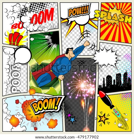 Mock-up of a typical comic book page. Vector Comics Pop art Superhero concept blank layout template with clouds beams, speech bubbles isolated. Speech bubles, symbols on colored Halftone Backgrounds