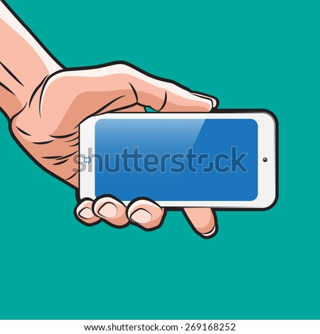Mock up with Smartphone in Hand - stock vector