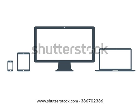 mockup gadget and device icons set gray color on the white background. stock vector illustration eps10 - stock vector
