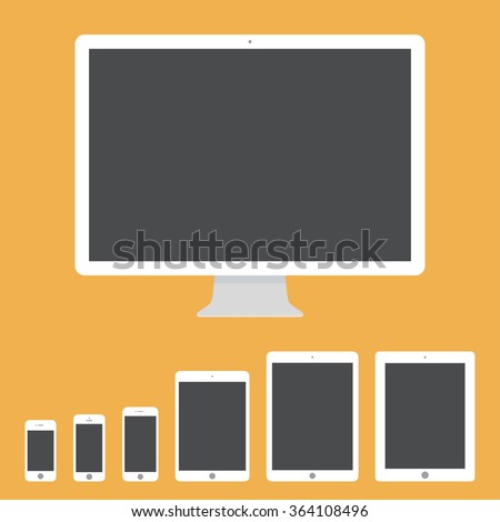 mockup gadget and device icons set in the style flat design on the yellow background. stock vector illustration eps10 - stock vector