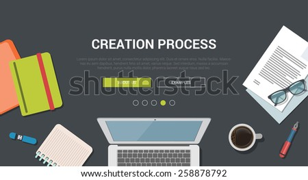 Mockup modern flat design vector illustration concept for creative creation process. Laptop notebook USB flash drive coffee. Web banner promotional materials template collection. - stock vector