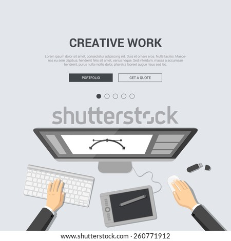 Mockup modern flat design vector illustration concept for creative work top view designer workplace paint tablet artist interface computer. Web banner promotional materials template collection. - stock vector