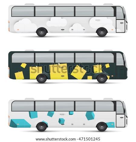 mockup passenger bus design templates transport stock