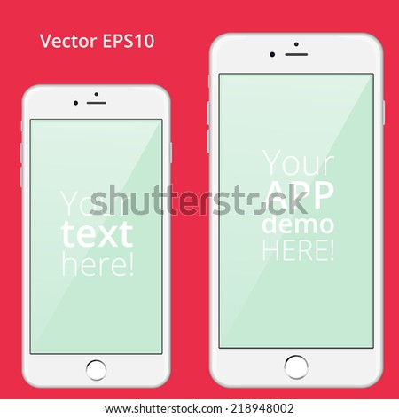 Mockup of two-sized iPhones 6 and 6 plus. You can insert your app demo or any information inside it and use it for business presentation, web site or other. - stock vector