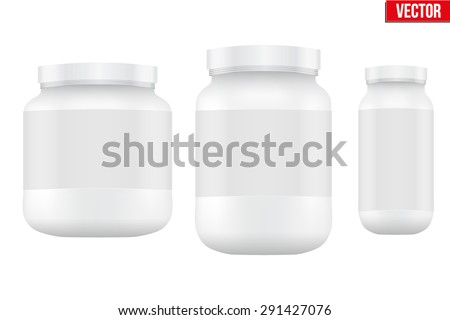 Mockup Sport Nutrition Container. White Plastic Whey Protein and Gainer. Vector Illustration isolated on white background - stock vector
