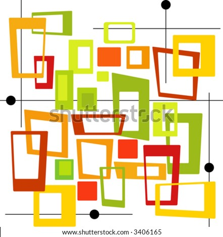 Mod, colorful Squares (Vector) Spot illustration of stylish,orange, red, green, gold squares. Easy-edit layered vector file--No transparencies or strokes! - stock vector