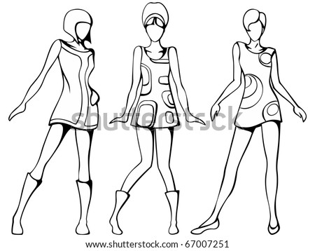 Mod girls sketch (EPS10); jpg version also available - stock vector